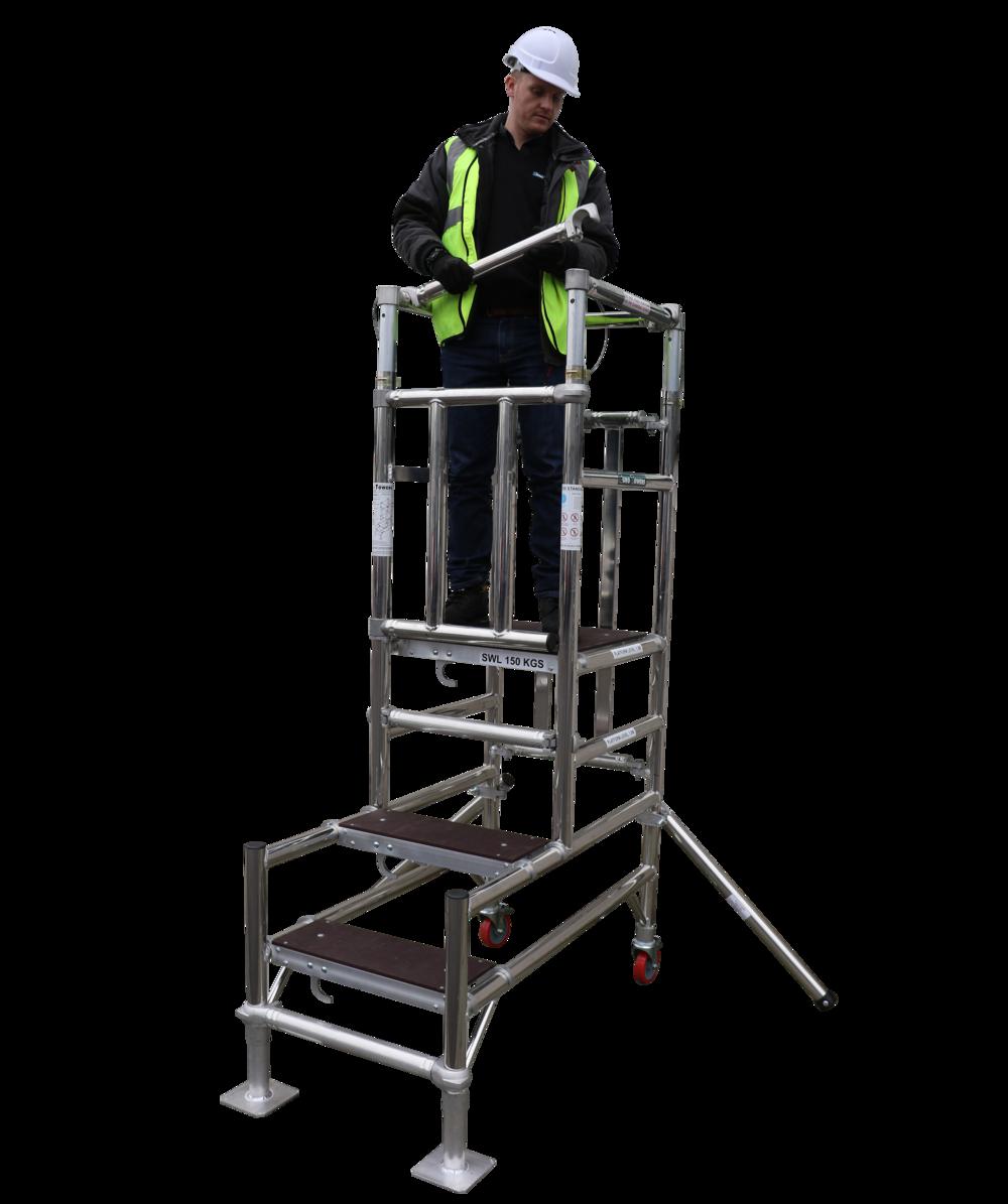 aluminium podium, stepfold podium 1, euro towers, aluminium tower, working at height, podium steps, ladder steps