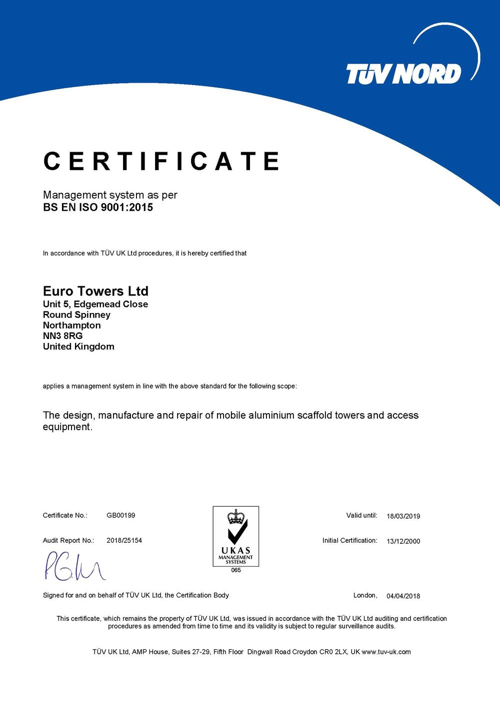 TUV - Manufacturing Certification