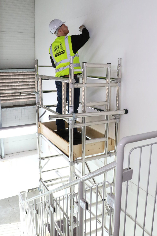 stair access tower, Aluminium access tower system , euro towers, stairwell, euro towers, stairway, mobile aluminium scaffold, scaffolding tower