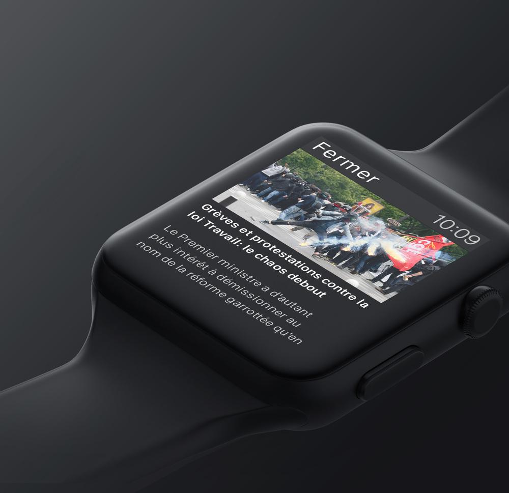 L'Express Apple Watch :  é  cran de de prévisualition d'un article