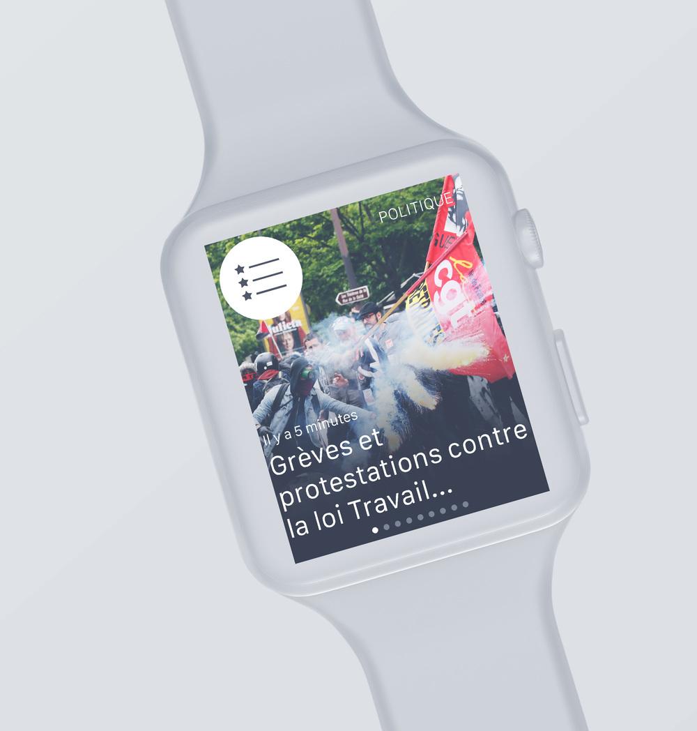 L'Express Apple Watch :écran de sélection d'articles