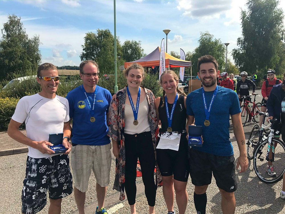 Lowestoft Road Runners at Waveney Triathlon Left to right Carl Prewer, Jonathan Meadows, Florence Ashdown, Steph Strowger, Tom Galley