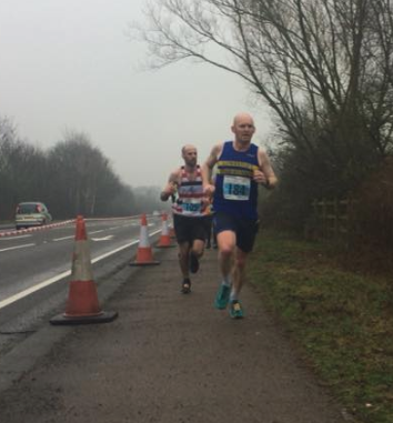 Paul Lyon about to win the Bungay Marathon