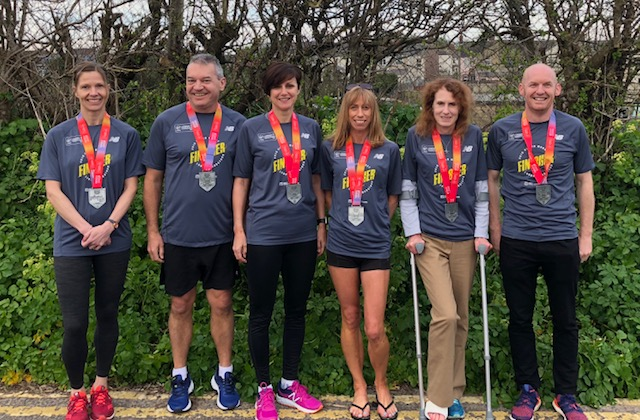 Katy, Simon, Karen, Lisa, Susan and Paul with their London Marathon Medals