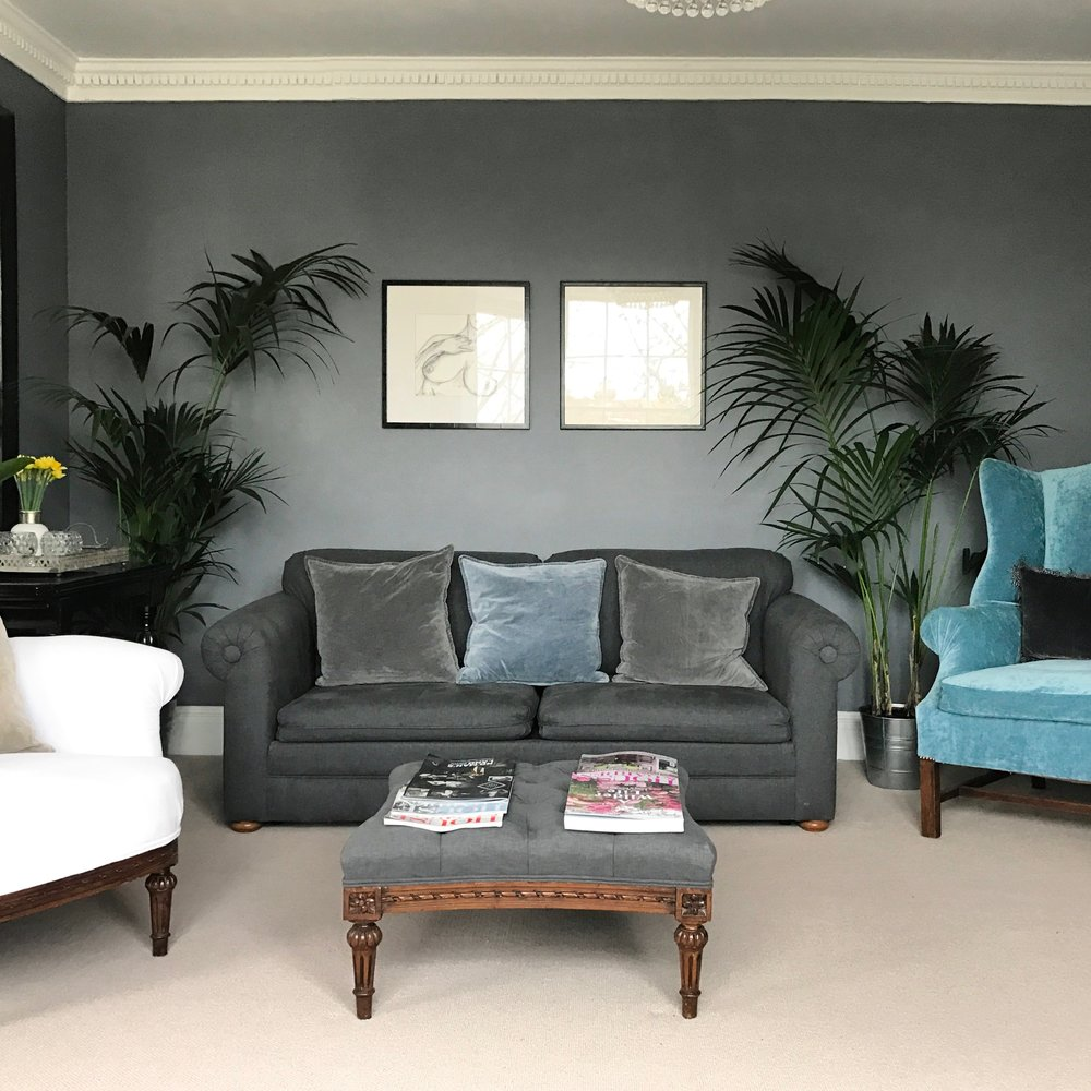 'The Grey room' upholstery in grey Romo fabric, turquoise velvet & french linen.  .