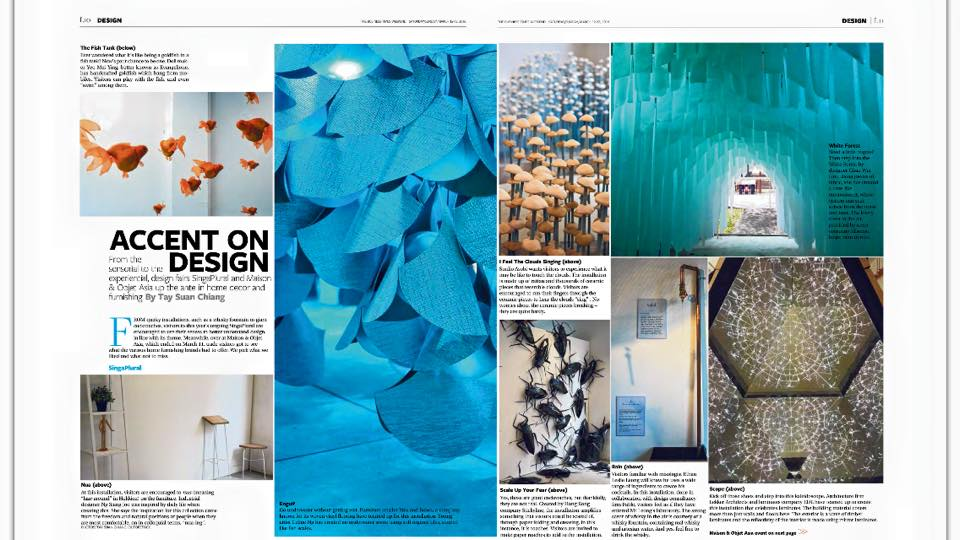 The Business Times - by Tay Suan Chiang. 12 March 2016. 'Accent on Design - From the sensorial to the experiential, design fairs SingaPlural and Maison & Objet Asia up the ante in home decor and furnishing'.