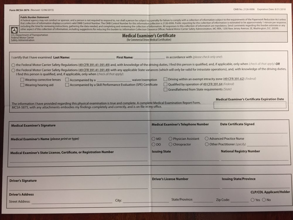 medical certificate wallet examiners forms york