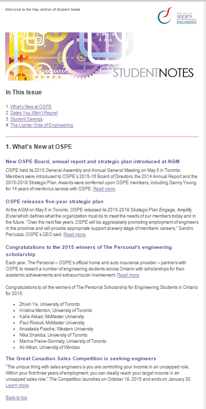 OPSE newsletter
