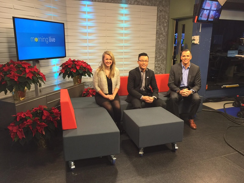From left to right: Sheila Cassidy (GCSC Director), Conrad Wong (GCSC Ambassador) and Michael Cote (VP of Sales, Purolator)