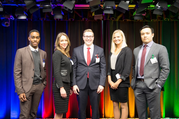Top 5 Finalists of the GCSC 2016 (from left to right): Carter Grant, Ryerson University; Sarah Wsetwood, BCIT; Evan Romano, Queen's University; Emma Clark, University of Saskatchewan and Gabriel Mark, University of British Columbia
