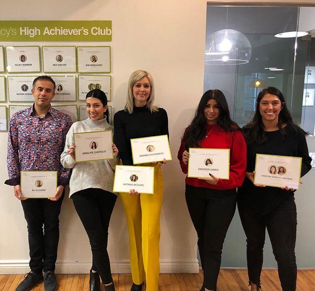 Introducing the Q4 2018 High Achiever's Club: —————————————— Ali, Annalyse, Amanda, Katrina, Shehzeen and Christina —————————————— Congratulations to all on an amazing quarter! 👏👏👏👏👏