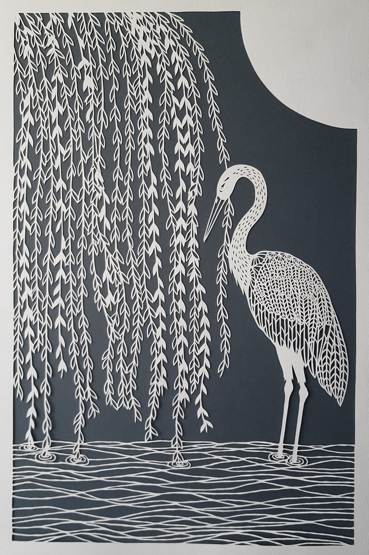 Stork et Willow Tree originale Papercut
