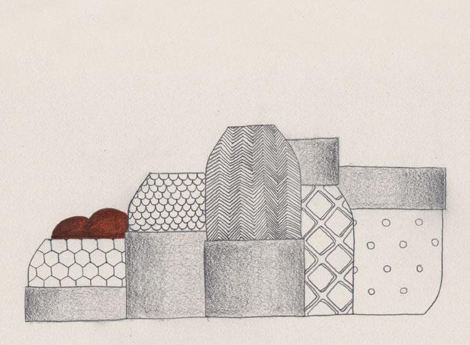 Sketch Vases Texturé Vautrin, Delvigne Vases Textures Collection