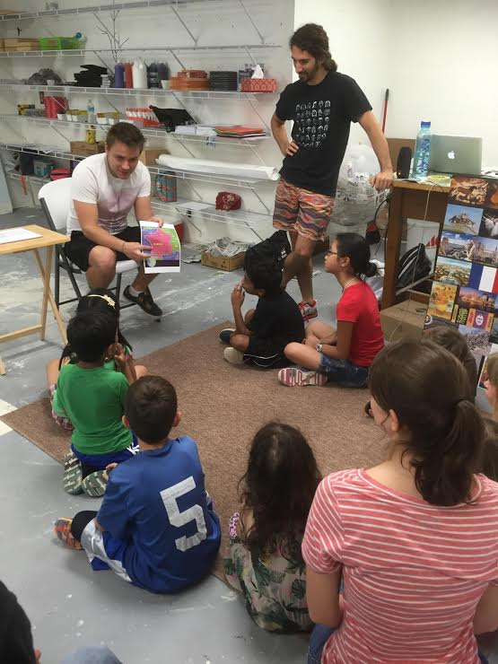 "Arthur Campain, from the Bordeaux Region of France, visited campers during the first week of ""Art Around the World."" He is studying international business and is spending the summer in St. Petersburg and an intern in the EDGE Distrct."