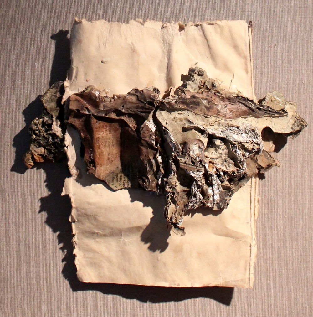 Untitled,  In the Realm of Aphrodite  series, found objects on paper mounted on panel, 15 x 12 inches