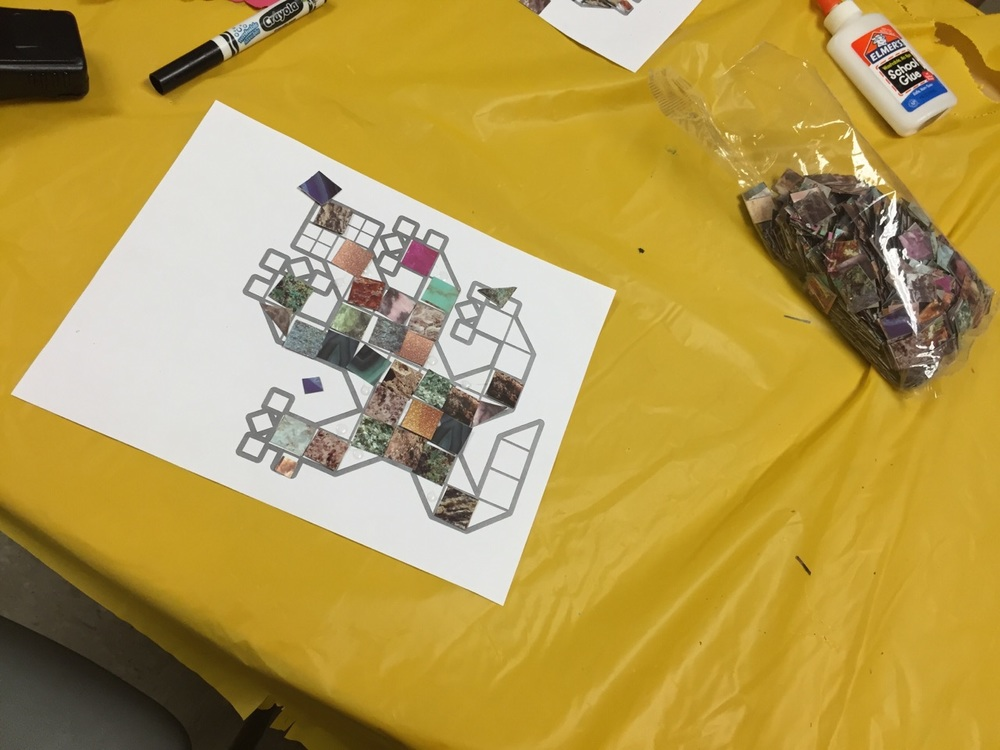 Campers used tiles made up of images of plants and animals to create nature-themed, earth-tone mosaics.