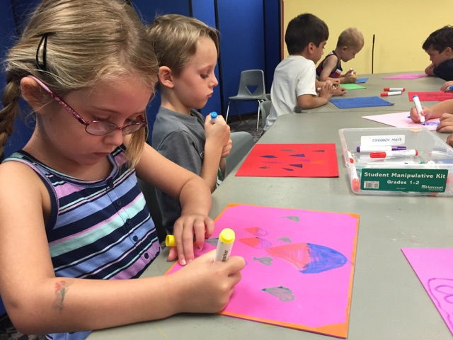 Campers expressed themselves by drawing on foam with permanent markers.