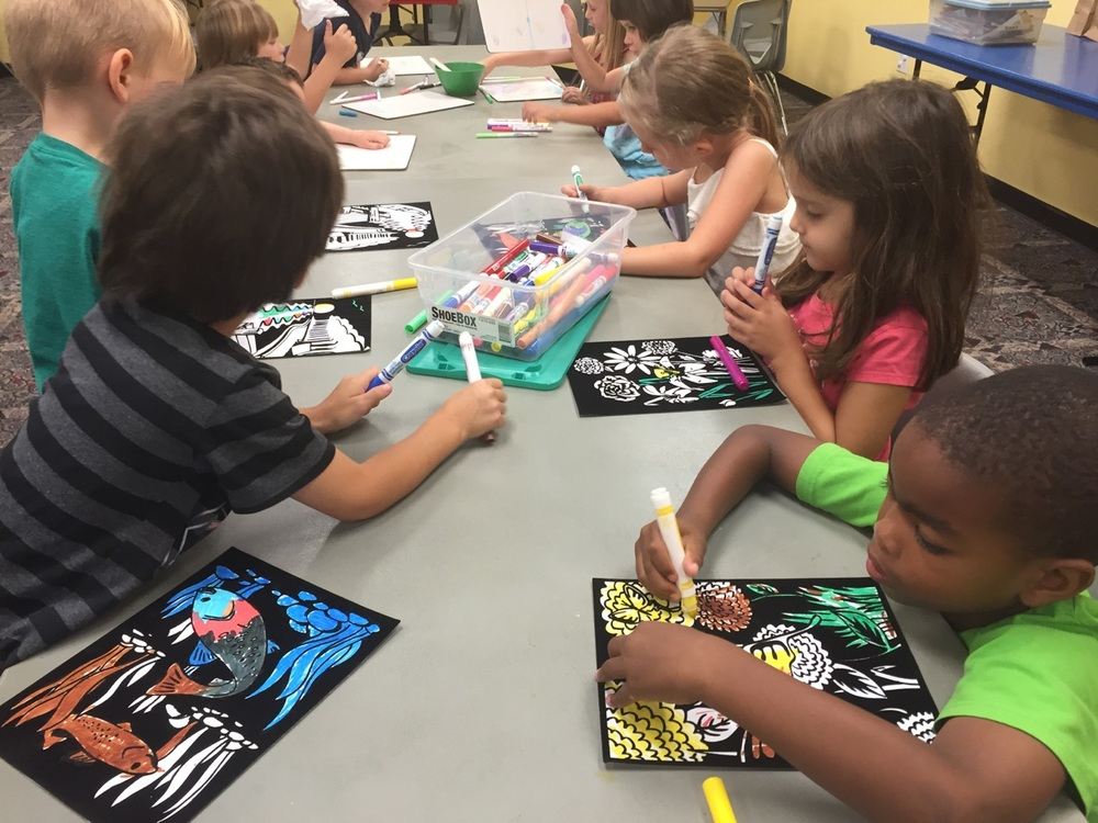 Scratch art and velvet art added to the fun this week.