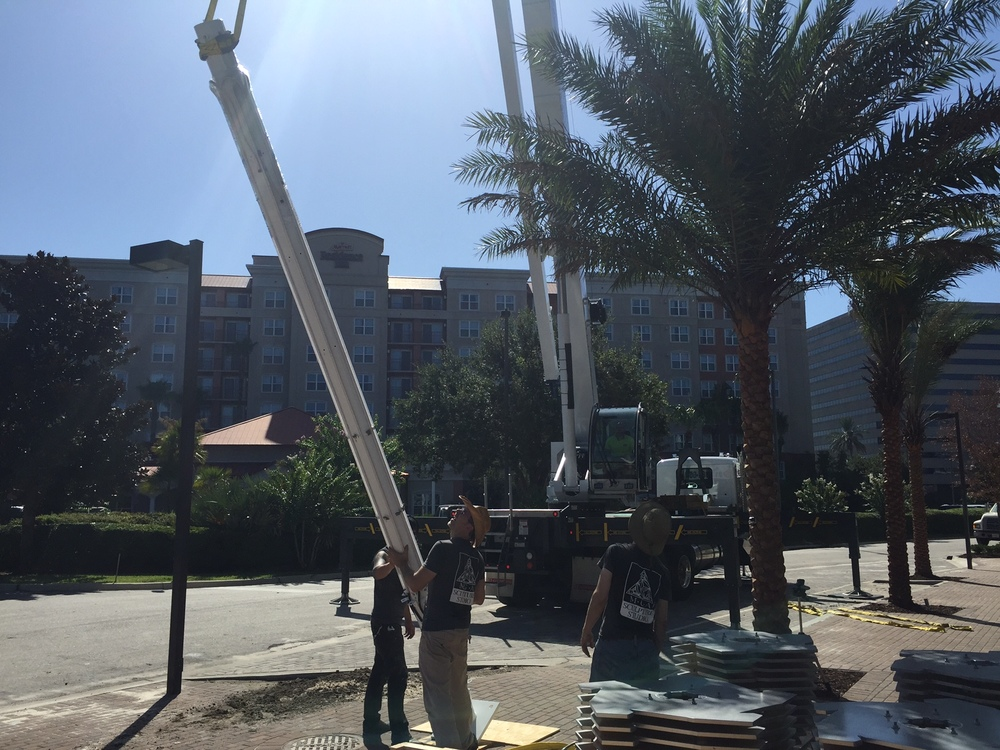 We met the crane operator at the installation site at Crescent Communities Westshore in Tampa at about   9am   and began unloading the truck and prepping for raising the primary support.