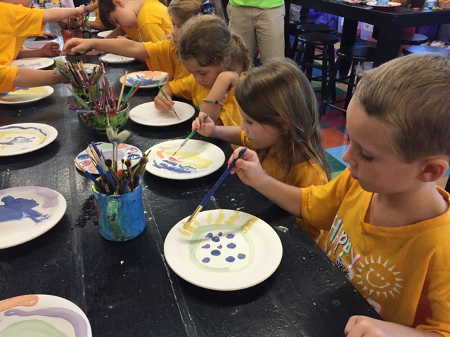 We can't wait to see what the plates look like when they come out of the kiln!