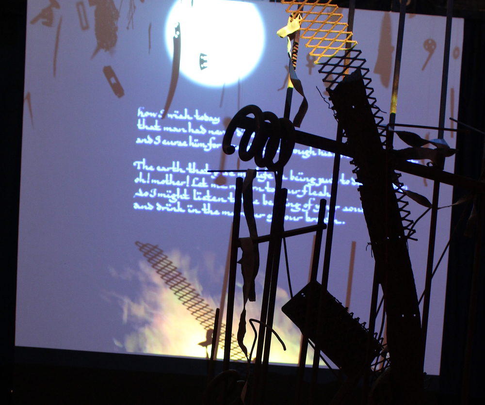 Homeland, Lost and Found ,  a collaborative installation inspired by a poem by Salah Al Hamdani with music composed and arranged by Rick Neal of element-dao, video by Jim Sennott and calligraphy by Charlene McCarthy. I was awarded a solo show in 2014, having won Best-of-Show the previous year at the Morean Arts Center.   Rose Marie Prins: Homeland Lost and Found  was a solo show in which I invited the other artists to collaborate with me.