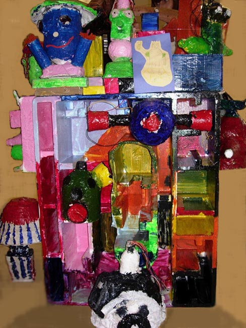 An apartment building created by the youth at Wildwood Recreation Center as part of the Youth Arts Corps summer project.
