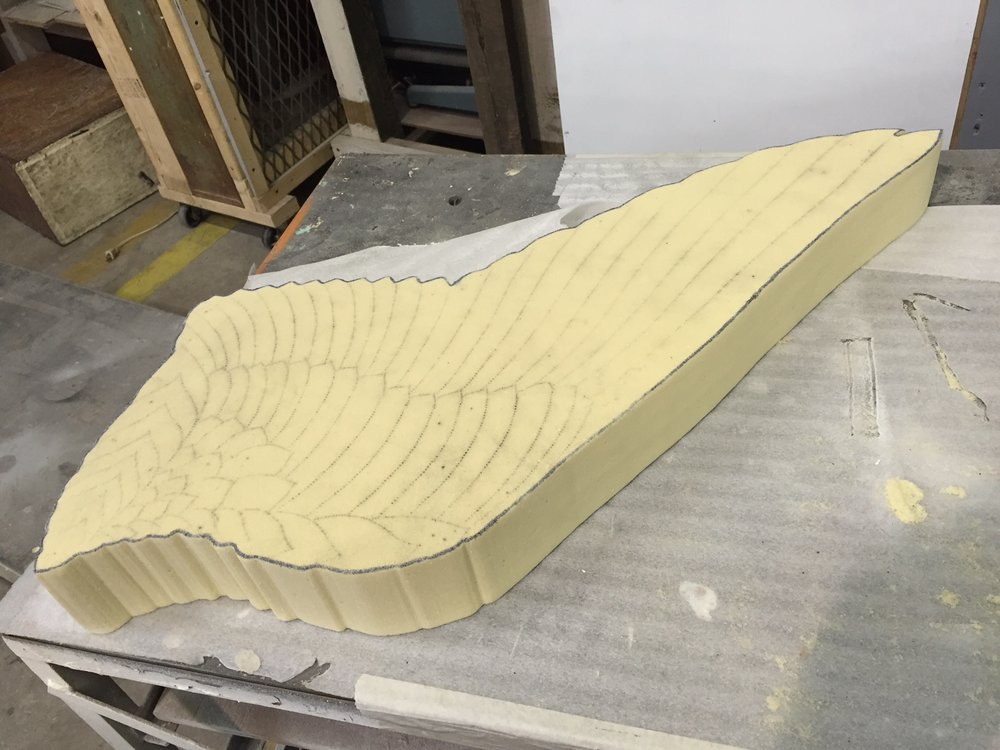 This small wing cut out represents the beginning of a scale prototype for another project that will be formed in aluminum.  This wing will be contoured like a wing surface and cut into sections to inform the creation of a full scale jig that will be used to guide the contours of the aluminum.