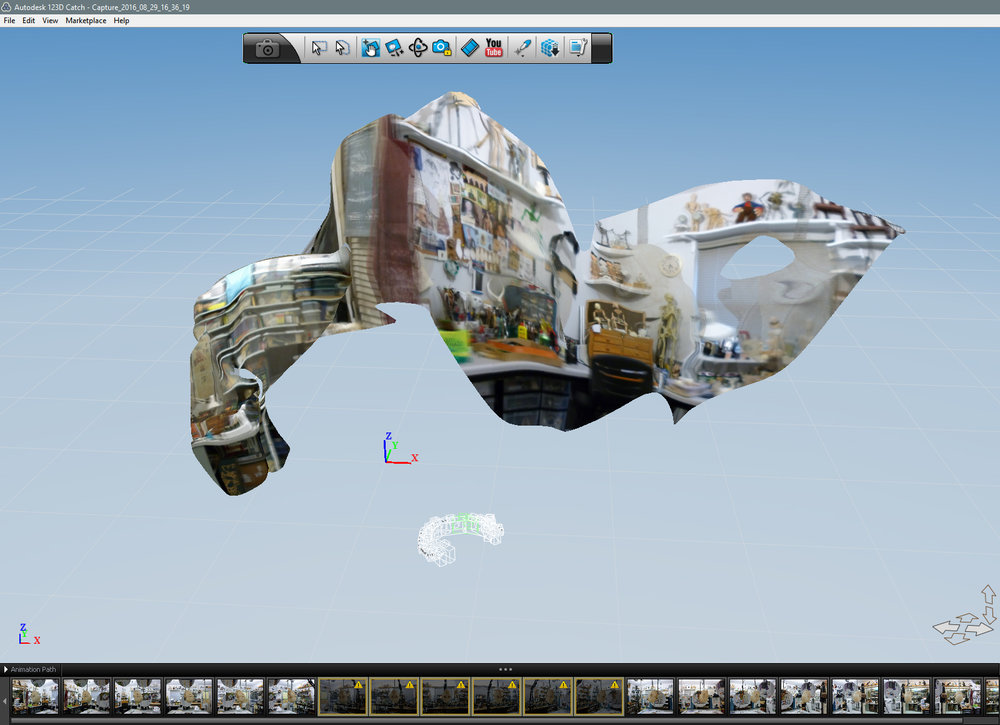 Not a pretty (or successful) picture. Head is no where to be seen, the yellow triangles in the thumbnails above mean digital info missing . The white 'C' in the middle area indicates only half of the camera images were processed. We can   either repeat the process, or match points on the images to   manually stitch them together. Boo - no fun!