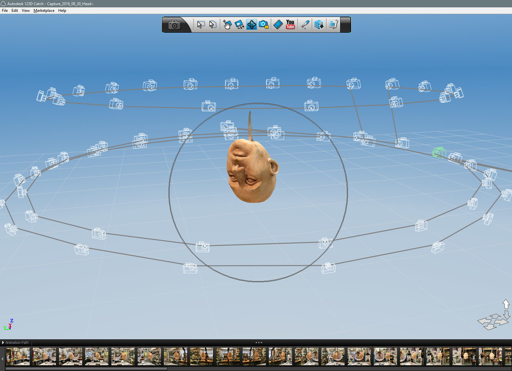 Mesh processing complete. Background images have been removed, leaving just the Head floating inside a camera cloud.