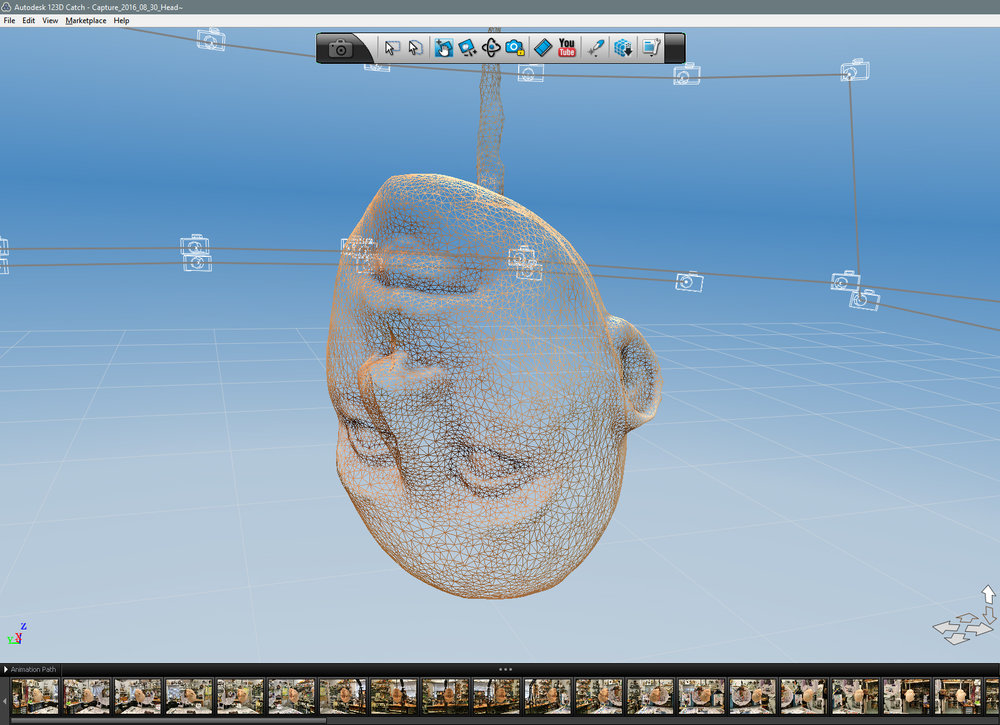 Zoom in to show the mesh -- Polygons o'Plenty! This is what 3D models are made of.