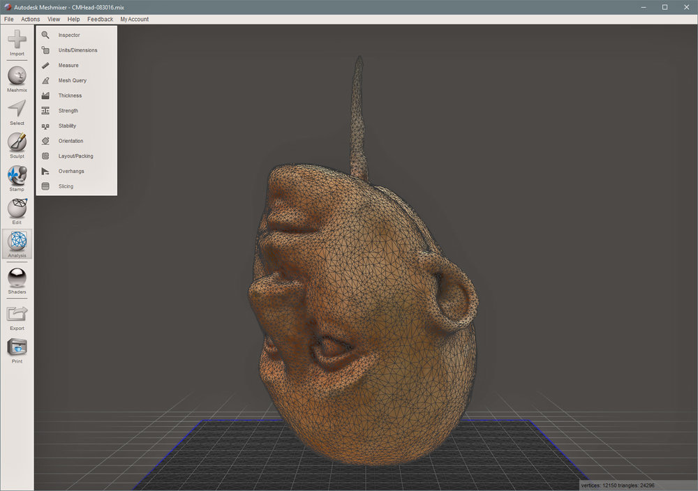 Next step is to bring the 3D model object into Meshmixer to repair   and refine the Head, then prepare the model for 3D printing... this is going to take a while....