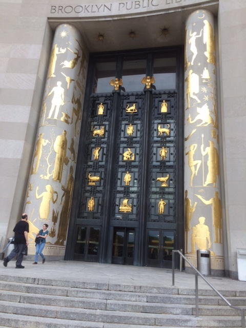 The impressive entrance to the Brooklyn Library not far from the museum