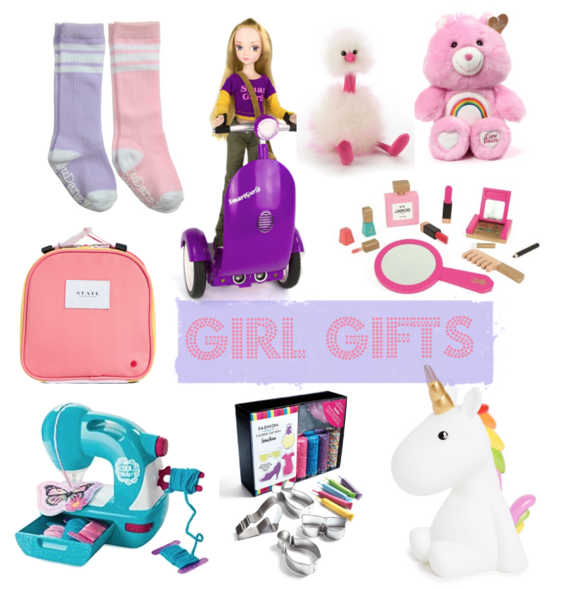 Clockwise from Top Right:  Tube Socks  /  Smart Gurlzz Coding Doll  /  Pom Pom Stuffed Animal  /  Care Bear Cheer Bear  /  Vanity Set  /  Unicorn Light  /  DIY Fashion Cookie Kit  /  Sewing Machine with Pom Pom Maker  /  STATE Bag Toy Carrier