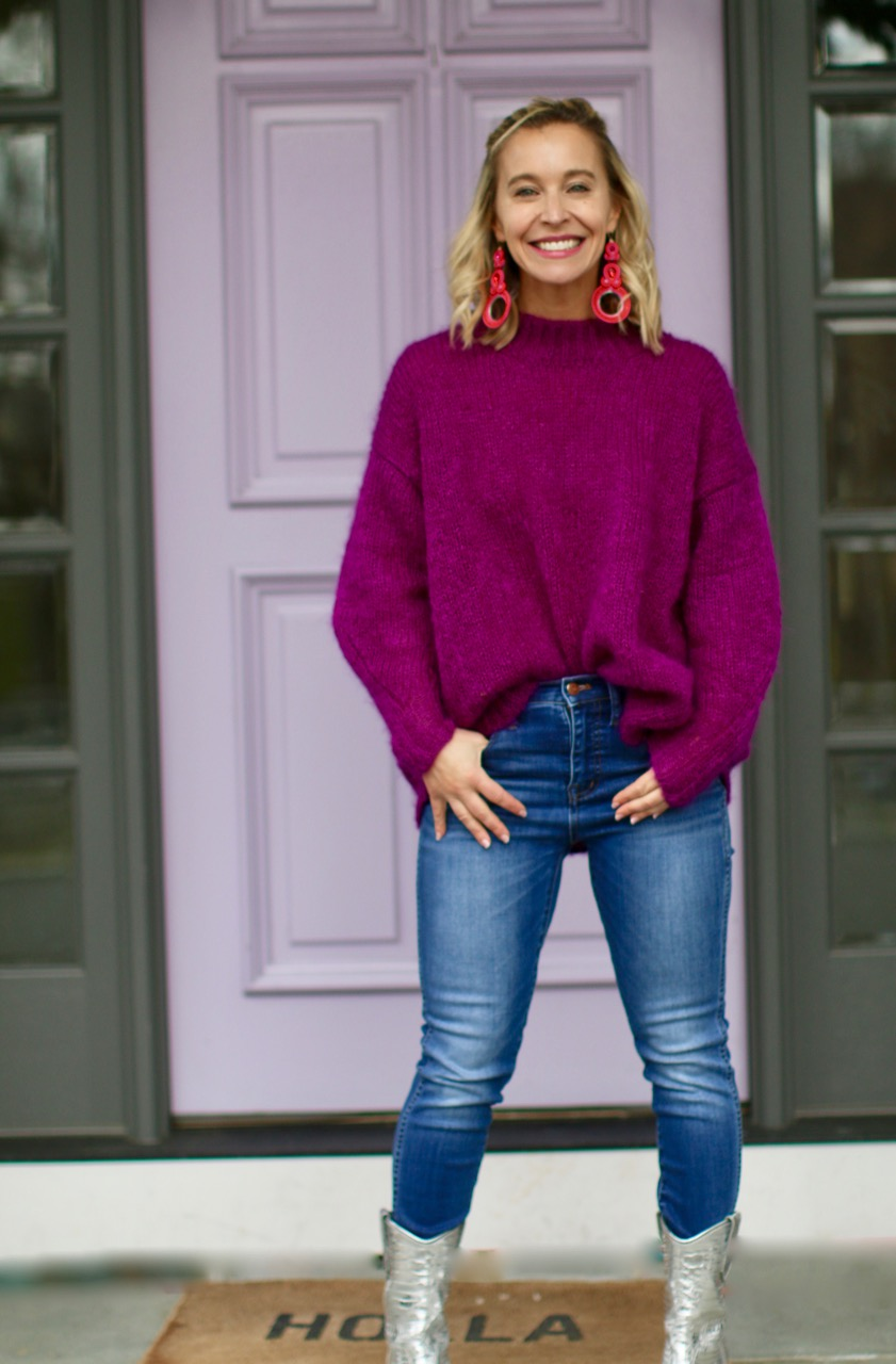 Sweater  /  Jeans  /  Boots  /  Earrings  (similar to pictured) /  Welcome Mat