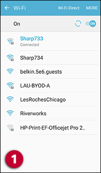 Connect to the board's Wi-Fi network (e.g., Sharp733 for room 733).