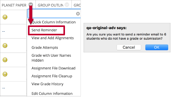 "For faculty:  In the Grade Center, faculty can choose ""Send Reminder"" from the drop-down box for a column to send an automated e-mail reminder to all students who have not submitted the assignment."