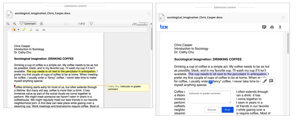 For faculty.  Faculty can preview student's assignments and highlight text and leave comments (or annotations) directly on the assignment.