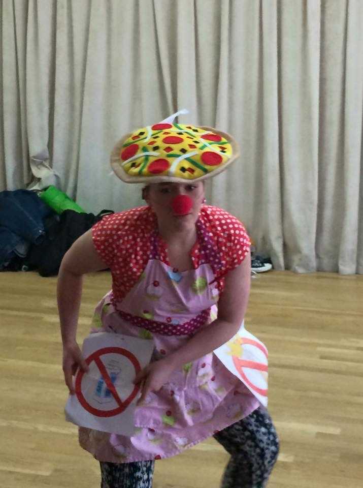 In Kathleen McNenny's Clown class--being my gluten and lactose intolerant demons!