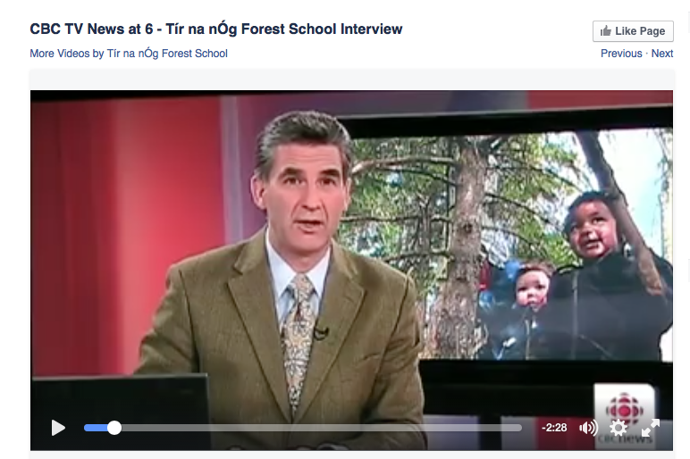 CBC TV New at 6 story about  Tír na nÓg Forest School