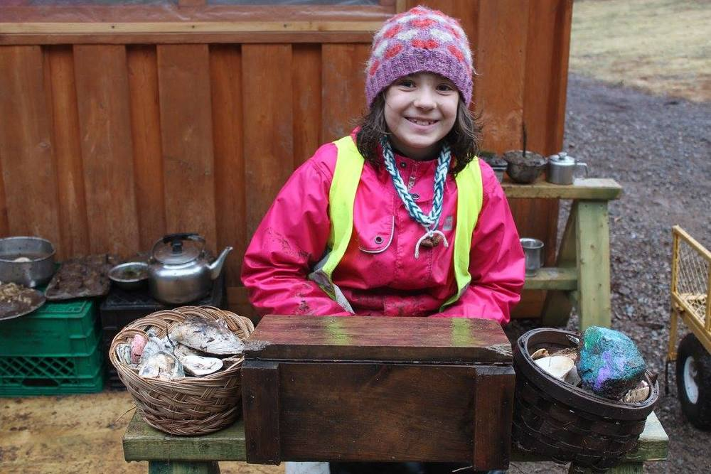 Fusing math, language arts, social studies, social development and creativity by setting up and role playing a day in a bakery at Tír na nÓg Forest and Nature School.