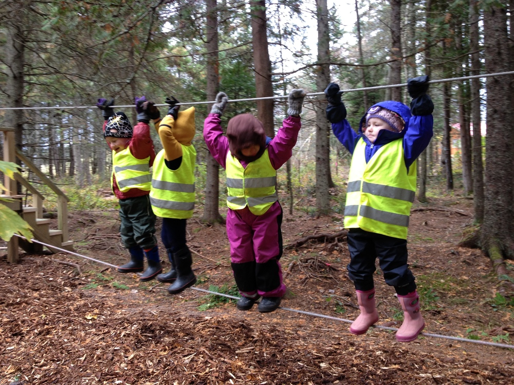 Children love the thrill of climbing and reaching for the sky as they walk along the slackline at forest school!
