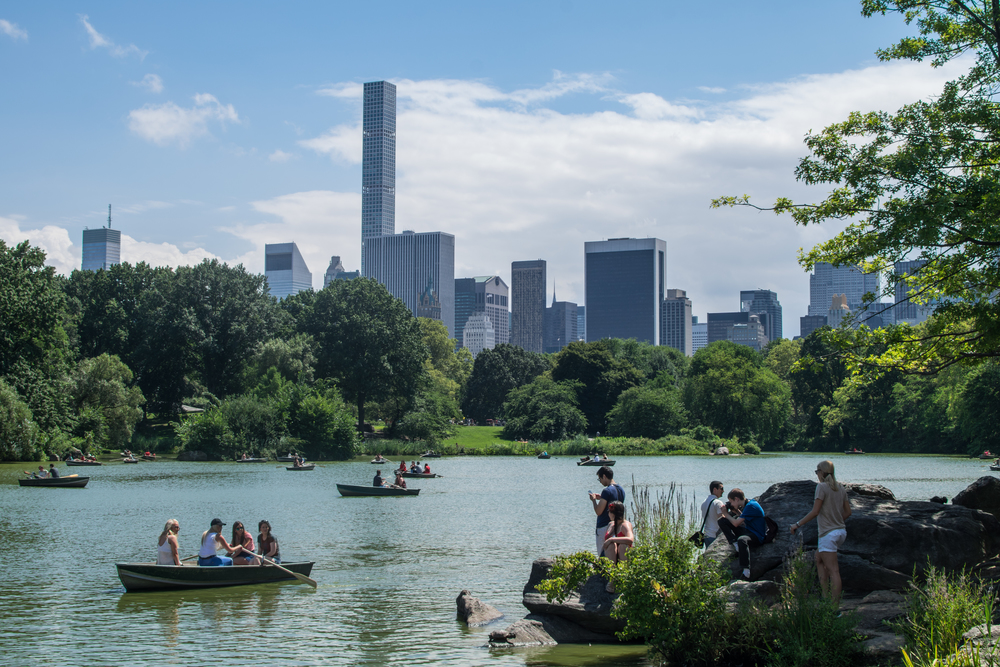 central-park-summer-view-row-boats-people-families-nature-trees-rocks-water-lake-buildings-skyscrapers-sky-clouds-blue