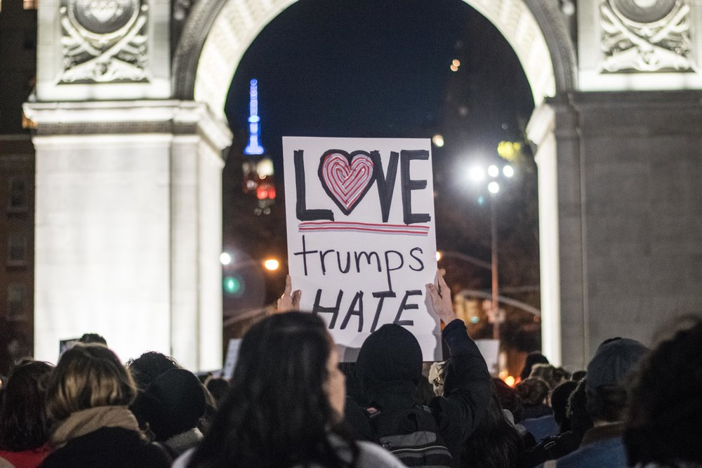 2016-NYC-New-York-Trump-Protest-March-Washington-Square-Park-Love-Sign
