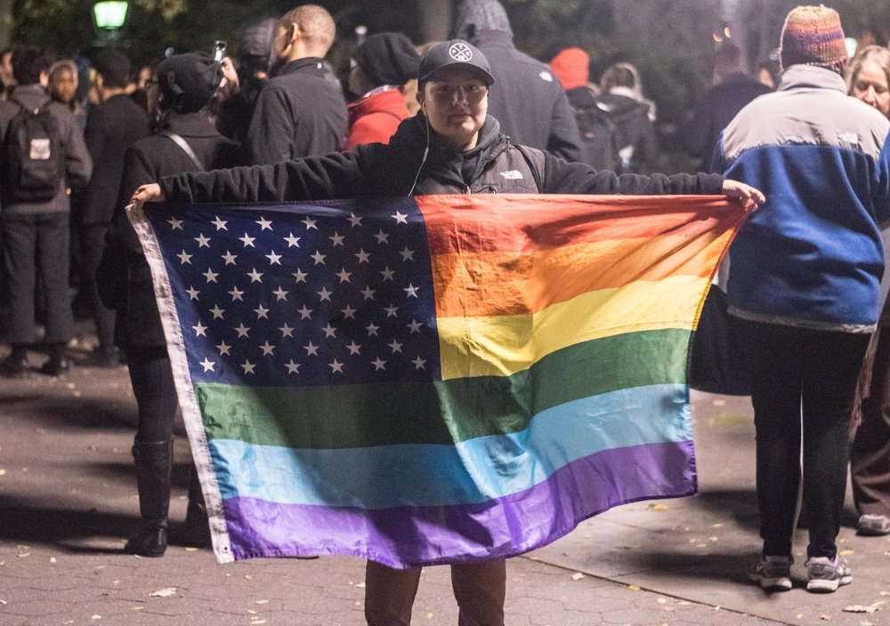 2016-NYC-New-York-Trump-Protest-March-Gay-Rights-Flag-Rainbow