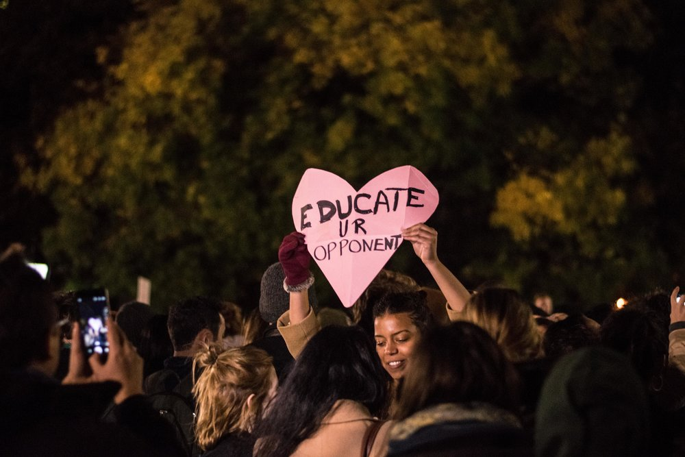 2016-NYC-New-York-Trump-Protest-March-Love-Heart-Pink-Sign-Educate