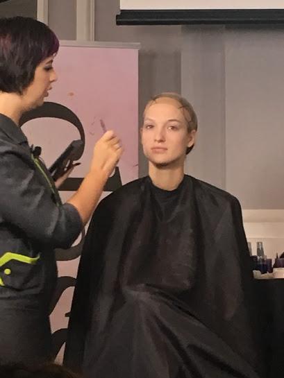 Makeup artist Jessica Padilla creating a 1920's flapper look.