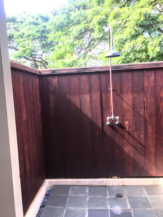 The outdoor showers are available off of both the Bride and Groom suites.