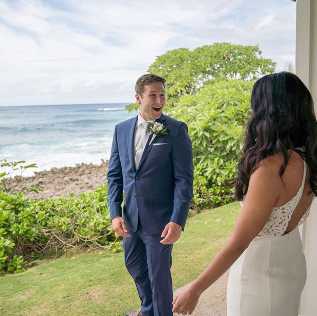 That look is what means the world to us. The groom being in absolute awe of how beautiful his bride is. It's photos like these that capture our hearts and remind us how blessed we are to do what we do.  Beauty by Stylists Alex and Mary Photographer: @adamapalmer34  Coordination: @savvyweddings  Venue: @turtlebayresort