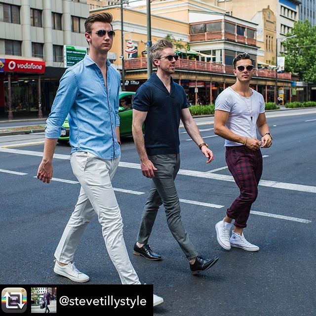 Our Elliot as seen down under with @stevetillystyle on the streets of Adelaide, Australia!  Repost from @stevetillystyle using @RepostRegramApp - When the crew do casual street looks. Left @mrmontywolf, right @mr_marrasso. I am wearing The Elliott in navy, a cool new 100% British wool short sleeve. It's amazingly comfortable. Check them out. 📸 @adelaidestreetstalker.  #men #menswear #madeinbritain #mensfashion #giftsforhim #gifts #australianfashion #austrailia #british #dapper #gentleman #gentlemen #gentlemenstyle #gq #gqstyle