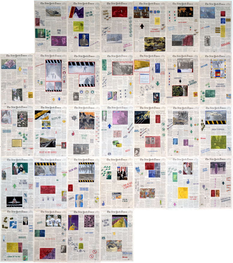 "Front Pages: January 1996  • 1996 • 31 pages of  The New York Times  • Ink and pastel on paper • 21.5"" x 13.5 each, 107.5"" x 94.5 overall"